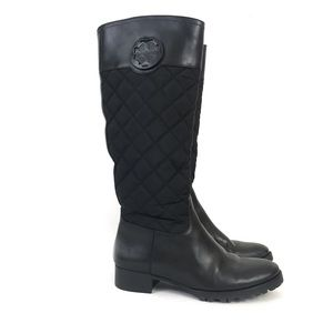 Tory Burch Rowan Black Quilted Riding Boots